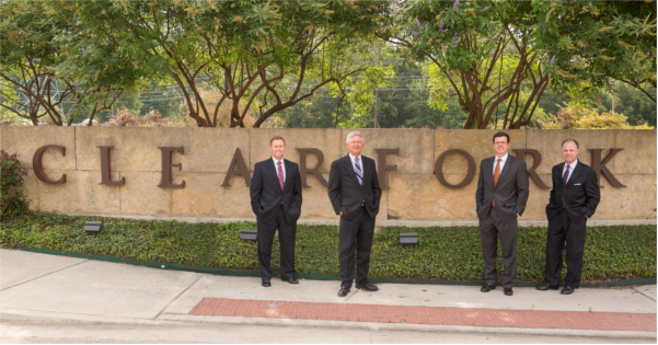 Bankers in Front of Clearfork Sign
